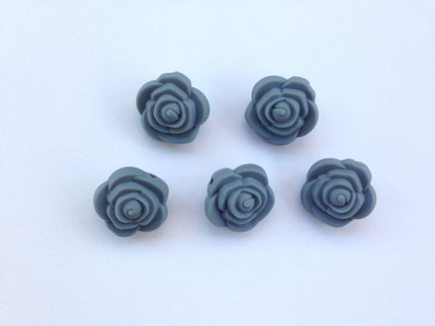 Gray Mini Silicone Rose Flower Beads