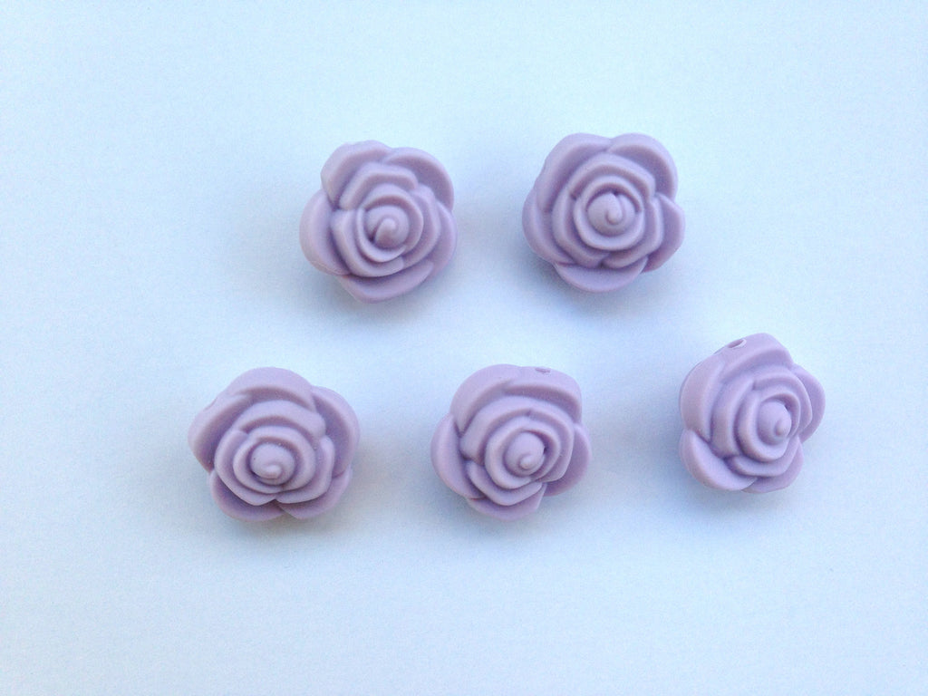 Lavender Mist Mini Silicone Rose Flower Beads