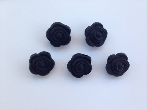 Black Mini Silicone Rose Flower Beads