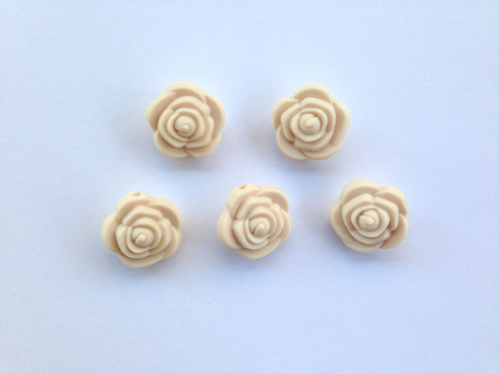 Beige Mini Silicone Rose Flower Beads