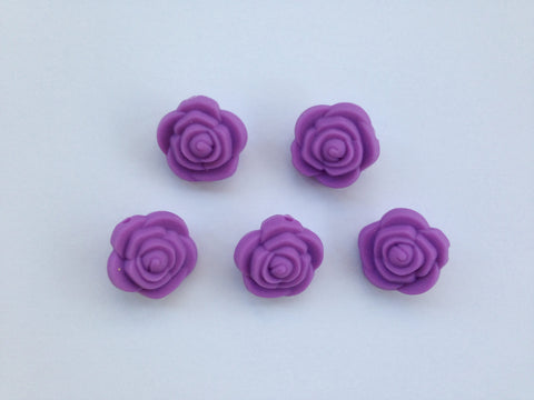 Lavender Purple Mini Silicone Rose Flower Beads