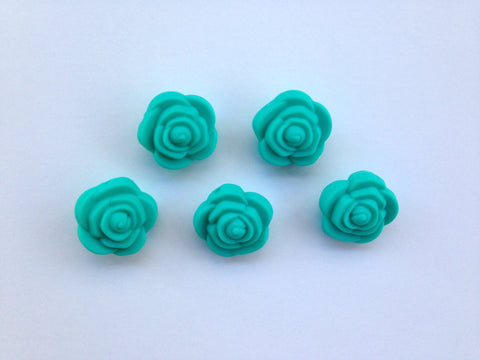Turquoise Mini Silicone Rose Flower Beads