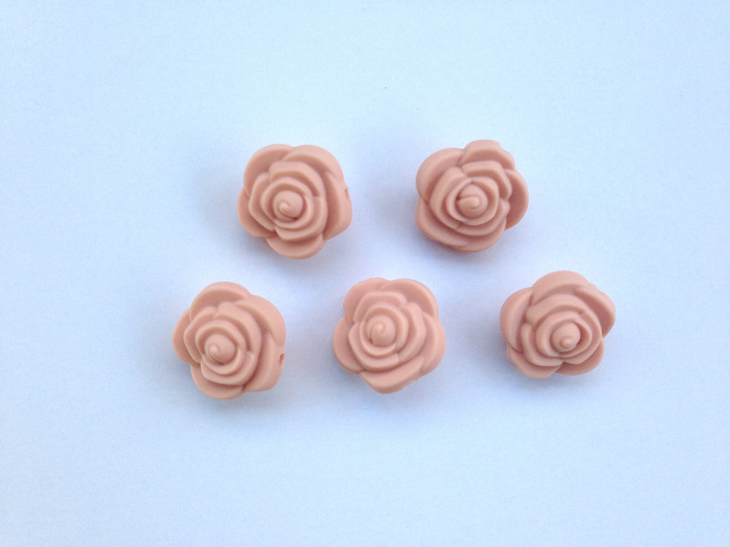 Peach Sorbet Mini Silicone Rose Flower Beads