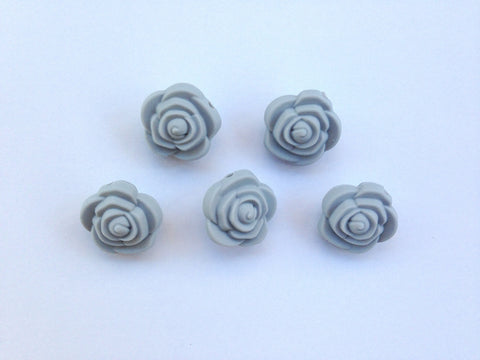 Light Gray Mini Silicone Rose Flower Beads