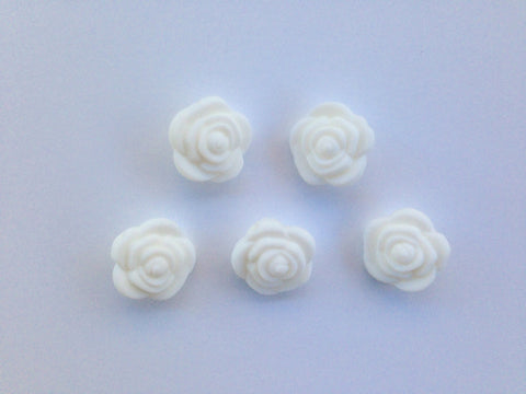 White Mini Silicone Rose Flower Beads
