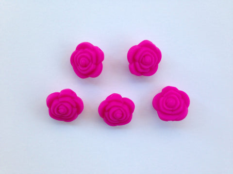 Hot Pink Mini Silicone Rose Flower Beads