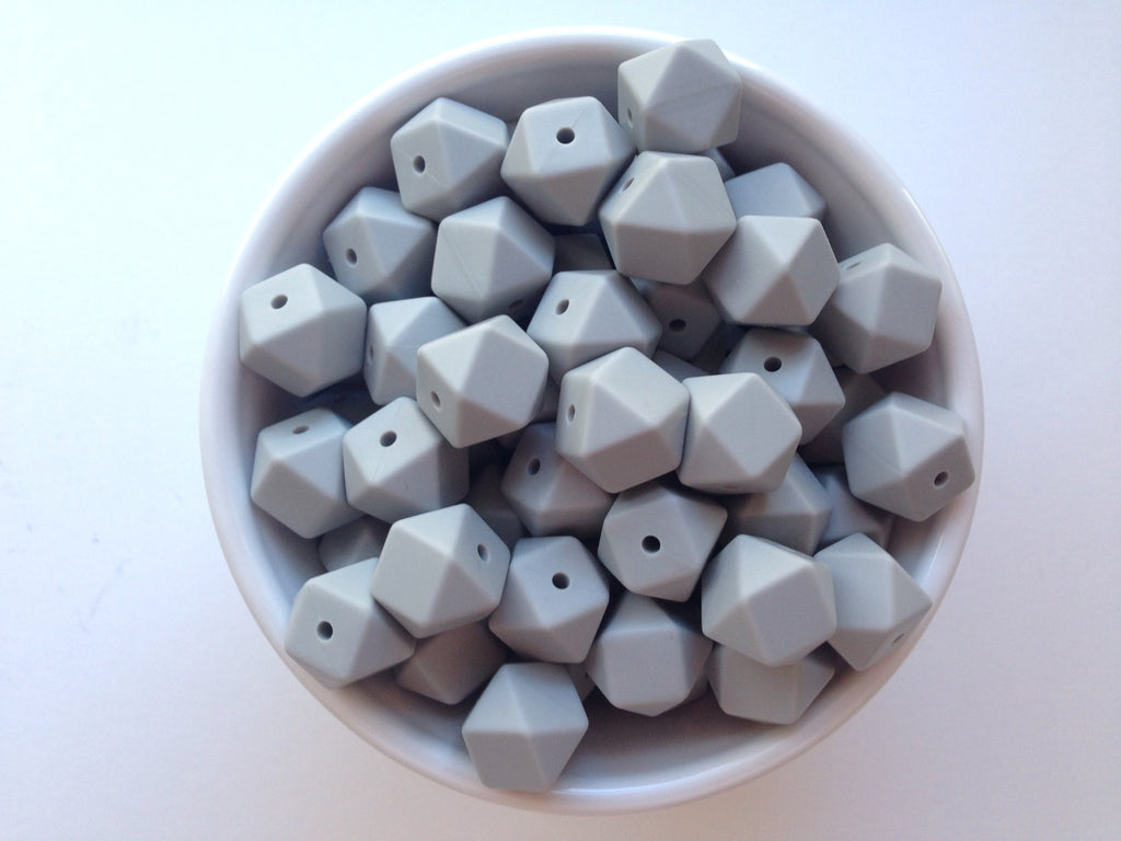 14mm Light Gray Mini Hexagon Silicone Beads