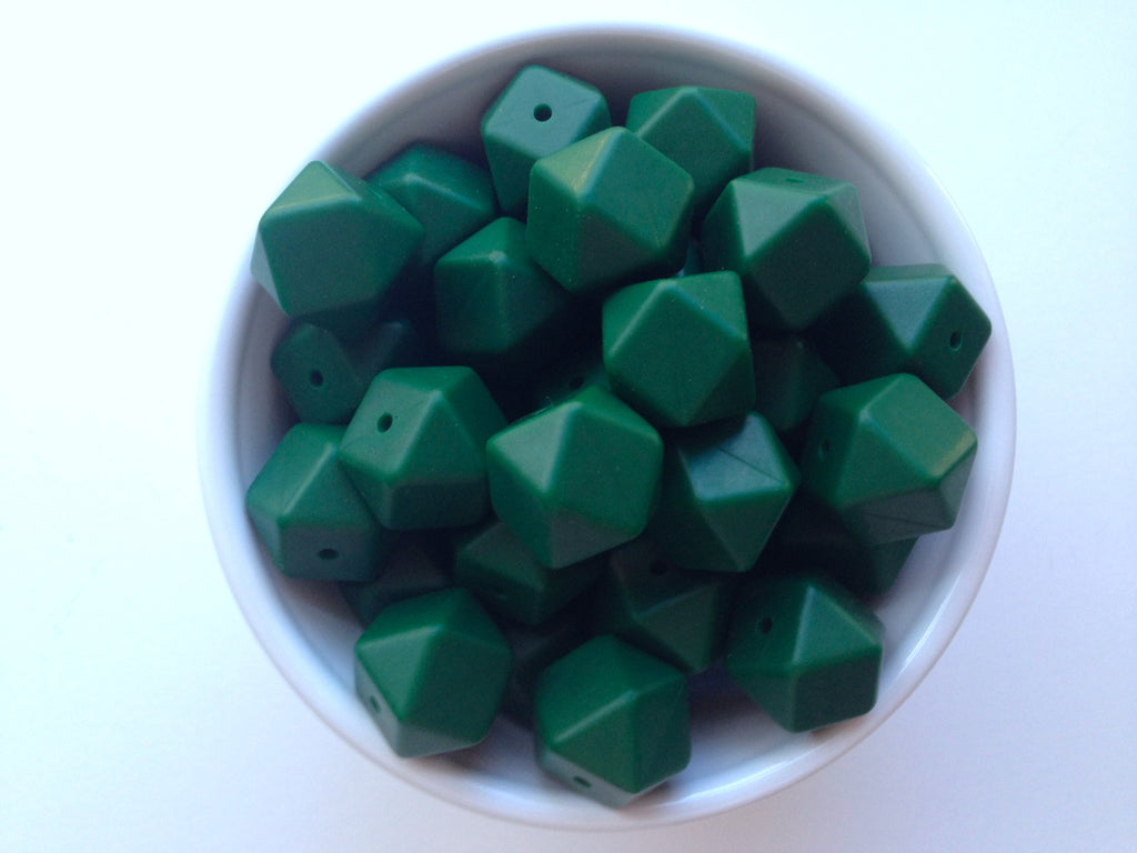 Forest Green Hexagon Silicone Teething Beads
