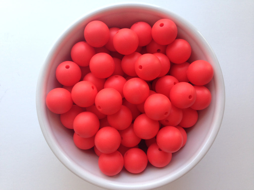 15mm Coral Red Silicone Teething Beads