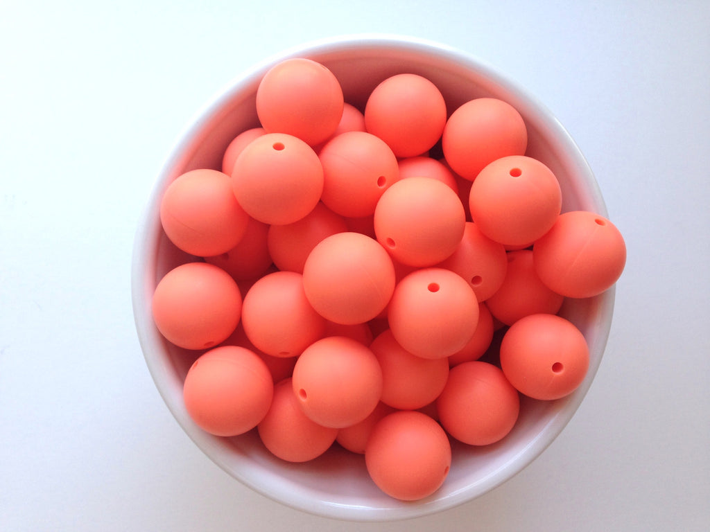 19mm Salmon Silicone Teething Beads