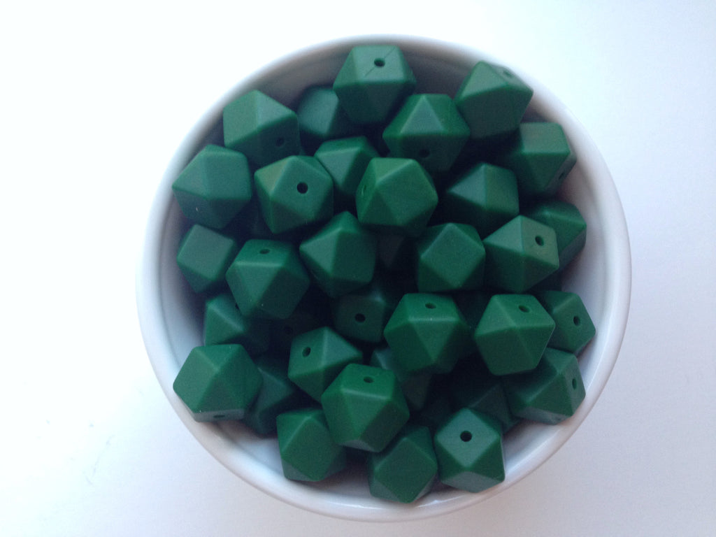 14mm Forest Green Mini Hexagon Silicone Beads