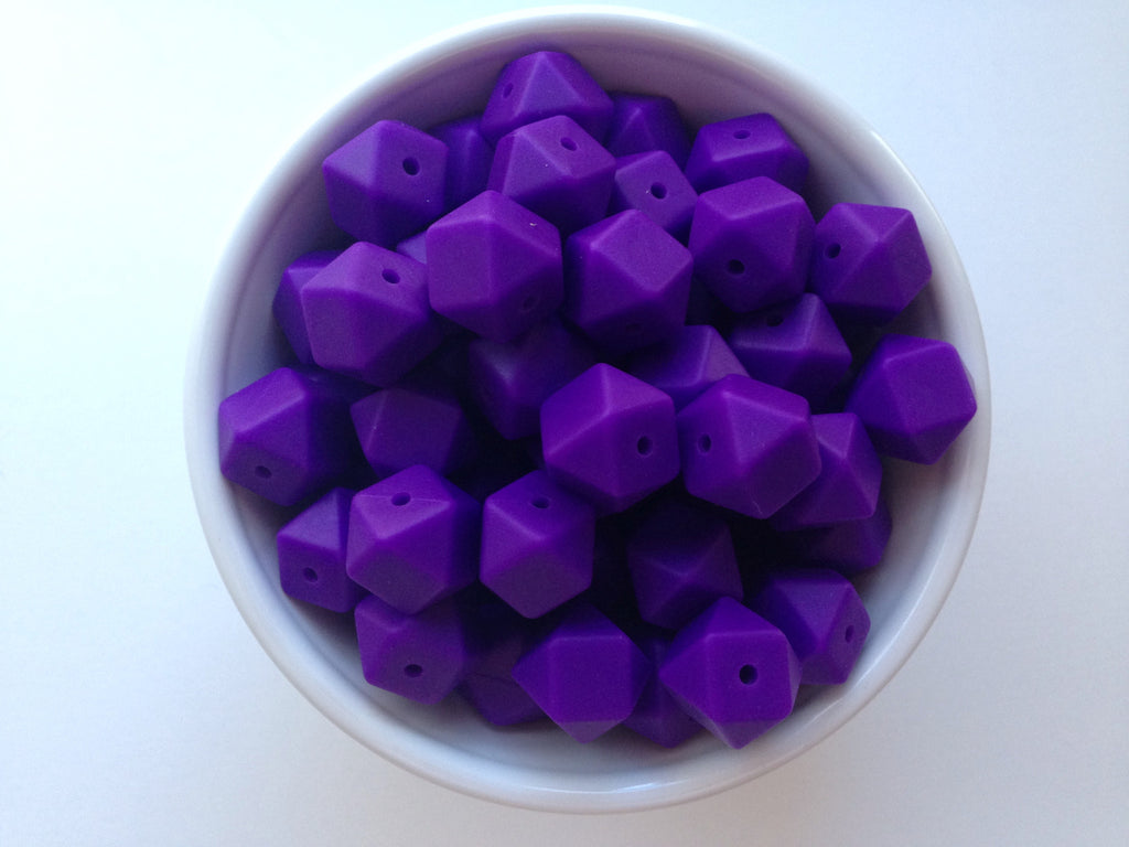 14mm Purple Passion Mini Hexagon Silicone Beads