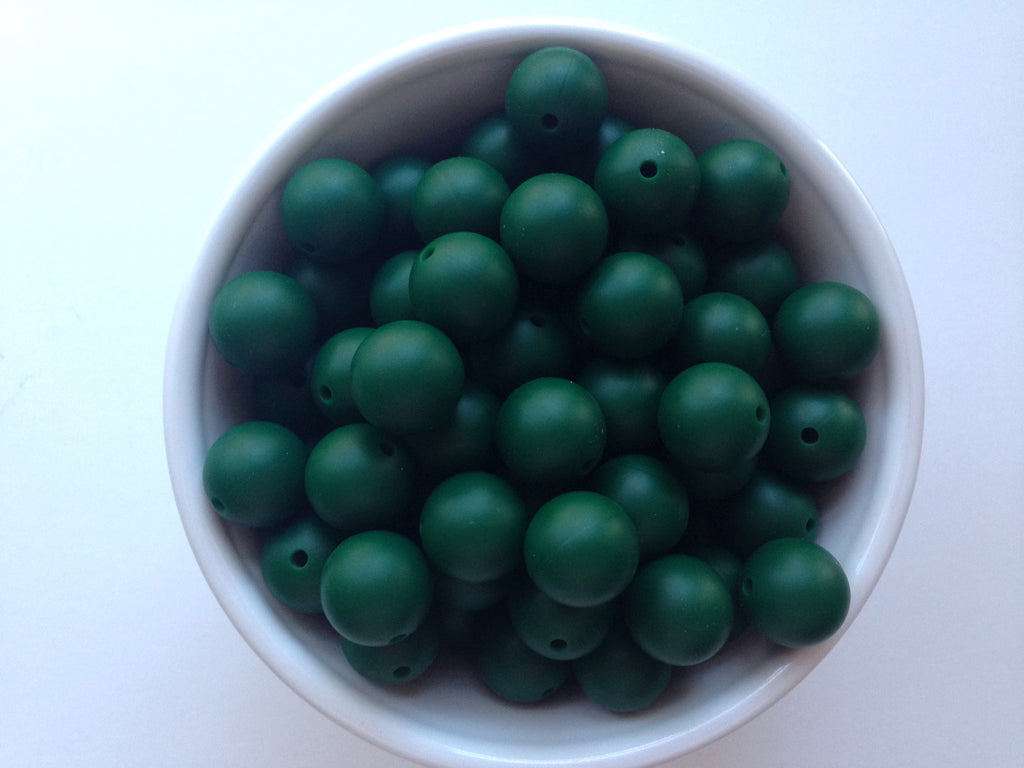 15mm Forest Green Silicone Beads