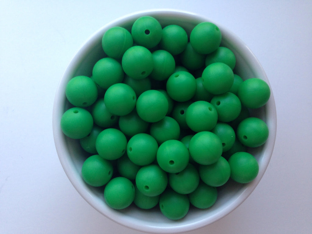 15mm Kelly Green Silicone Beads