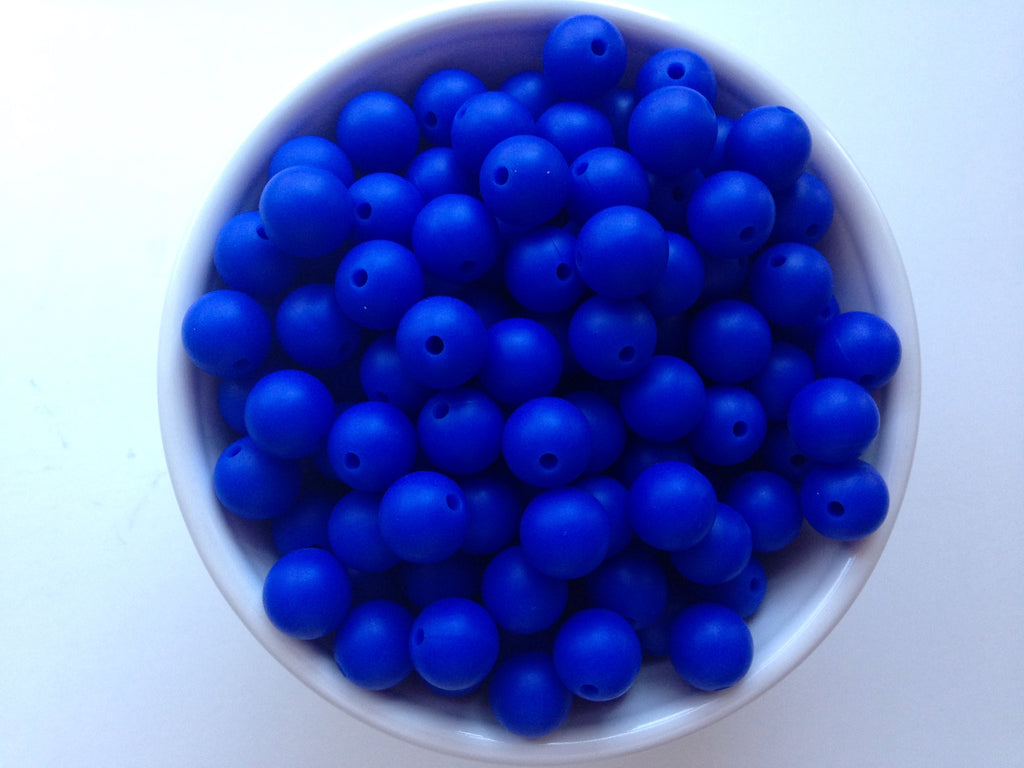 12mm Royal Blue Silicone Beads