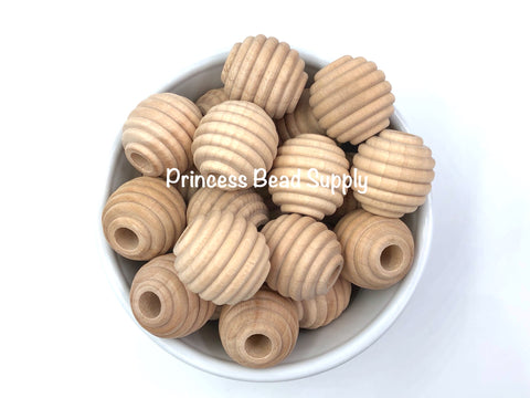 25mm Natural Wood Beehive Beads
