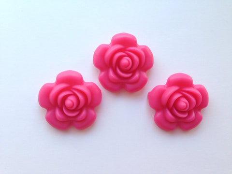 40mm Light Hot Pink Silicone Flower Bead