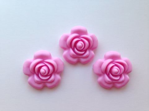 40mm Light Pink Silicone Flower Bead
