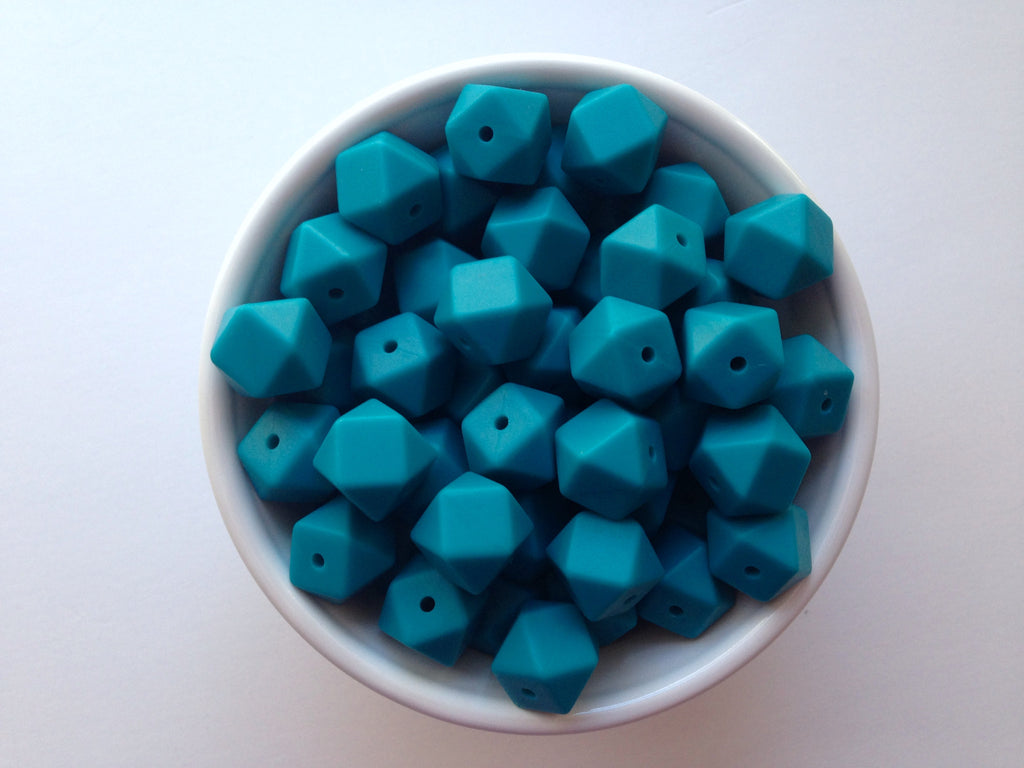 14mm Teal Blue Mini Hexagon Silicone Beads