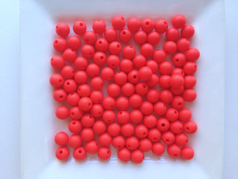 9mm Coral Red Silicone Beads