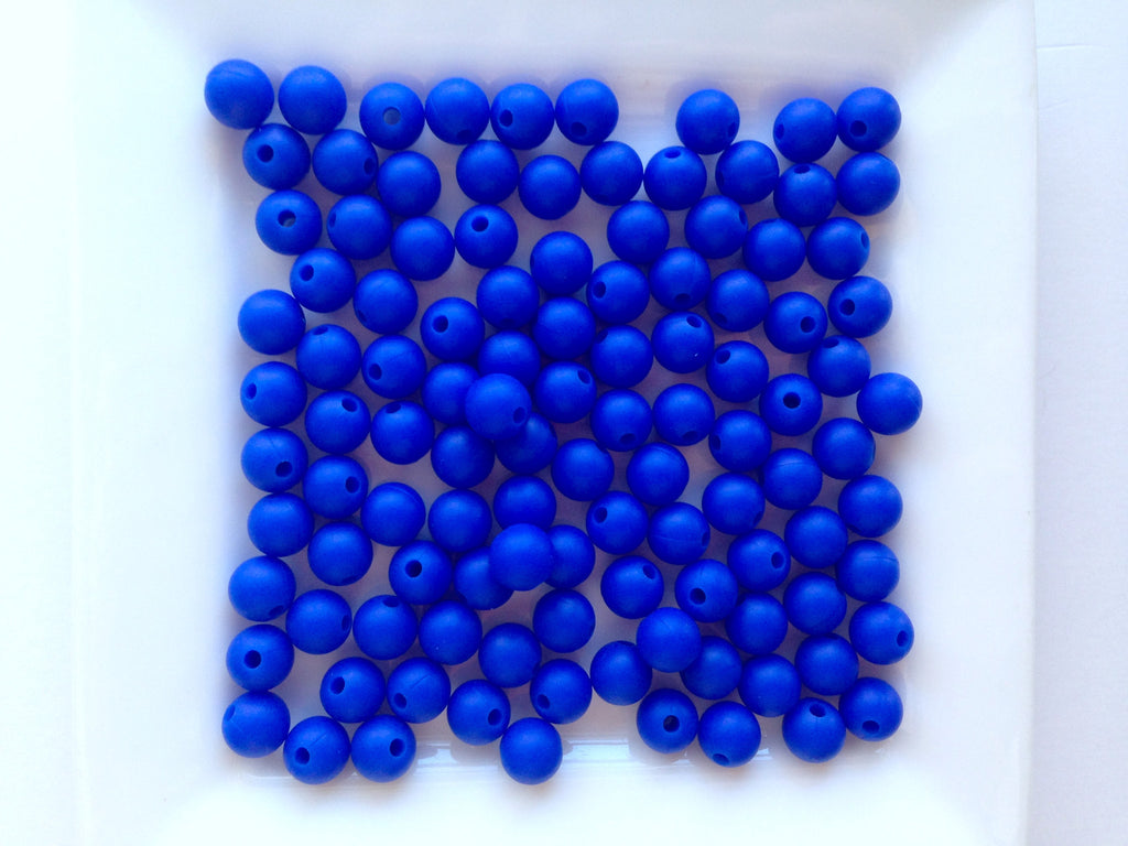 9mm Royal Blue Silicone  Beads
