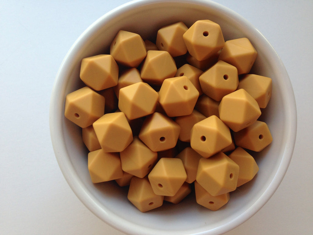 14mm Mustard Mini Hexagon Silicone Beads