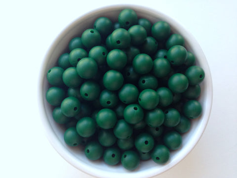 12mm Forest Green Silicone Beads