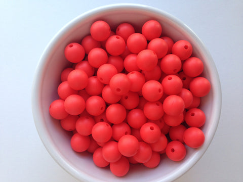 12mm Coral Red Silicone Beads