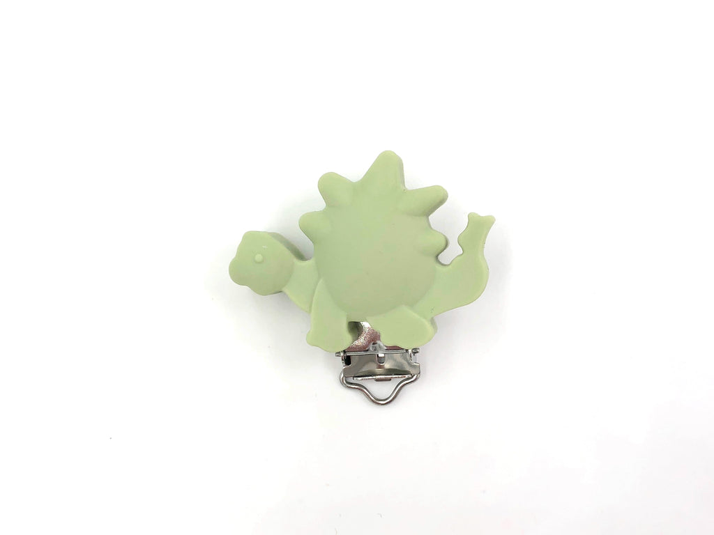 Sage Green Dinosaur Silicone Pacifier Clip