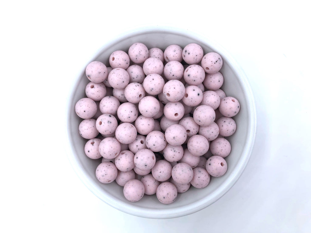 12mm Pink Speckled Silicone Beads