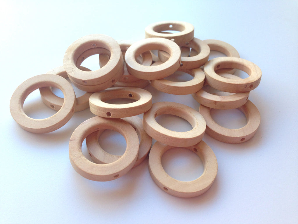 30mm Natural Wood Teething Rings with holes