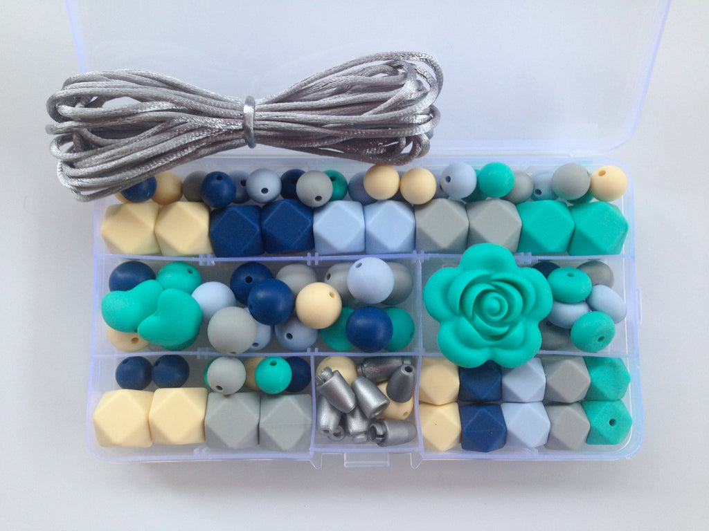Shades of Blue, Turquoise, Vanilla & Gray Silicone Deluxe Necklace Kit