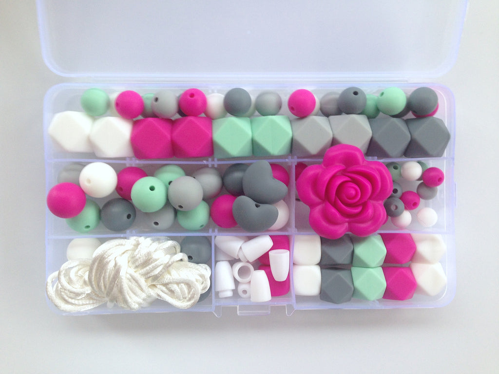 Shades of Gray, Hot Pink, Mint & White Silicone Deluxe Necklace Kit