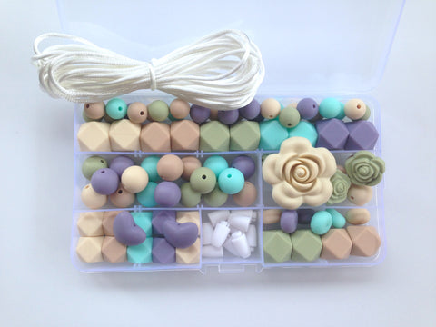 Beige, Aqua, Oatmeal, Sage & Tropical Lilac Silicone Deluxe Necklace Kit