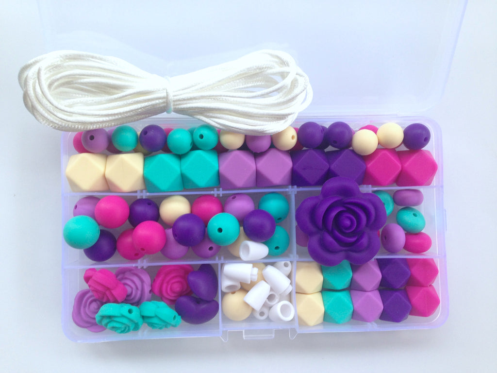 Shades of Purple, Hot Pink, Vanilla & Turquoise Silicone Deluxe Necklace Kit