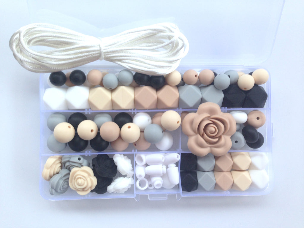 White, Beige, Oatmeal, Light Gray and Black Silicone Deluxe Necklace Kit