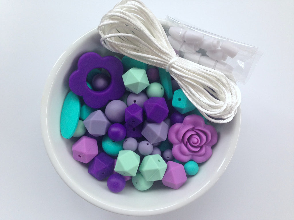 Shades of Purple, Mint and Turquoise Bulk Silicone Bead Mix