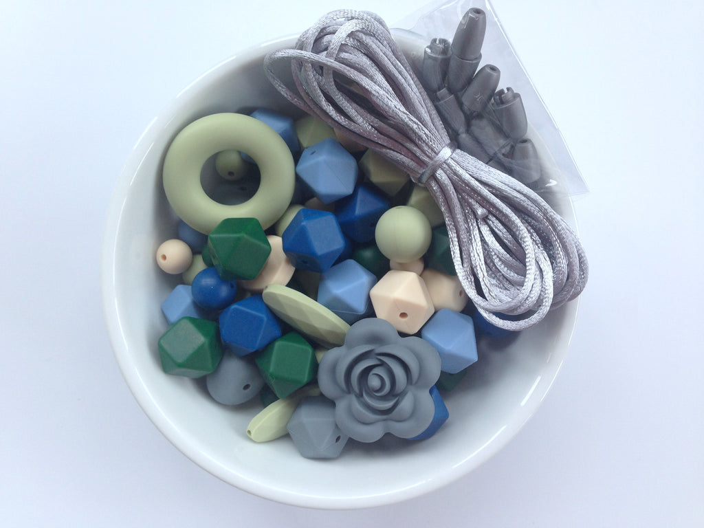 Shades of Blue, Forest Green, Sage and Gray Bulk Silicone Bead Mix