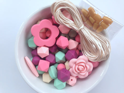 Shades of Pink, French Plum, Beige and Mint Bulk Silicone Bead Mix