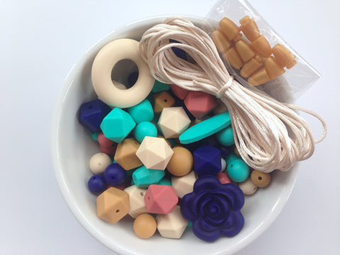 Navy, Turquoise, Mustard, Maroon & Beige Bulk Silicone Bead Mix