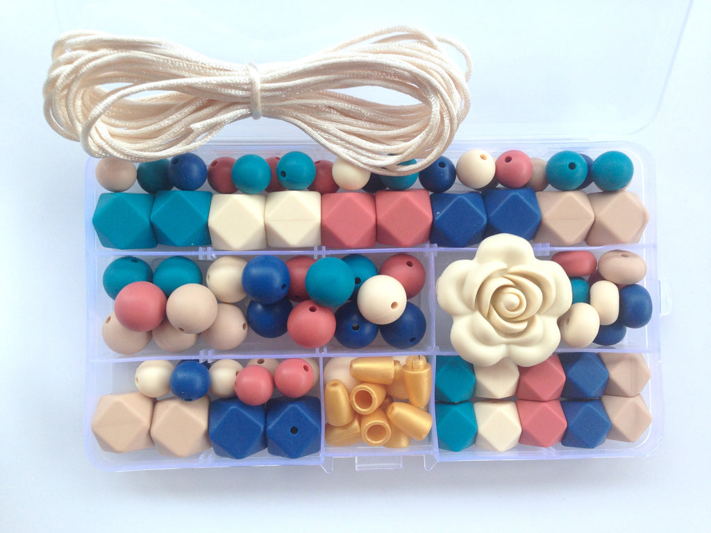 Teal Blue, Beige, Maroon, Sapphire Blue & Oatmeal Silicone Deluxe Necklace Kit