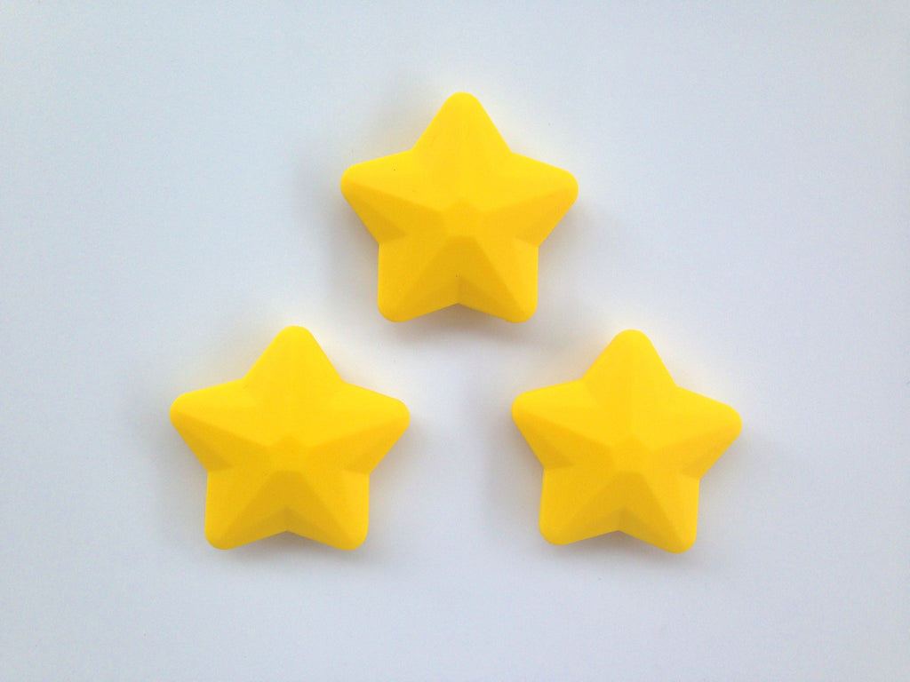 Yellow Faceted Star Silicone Bead