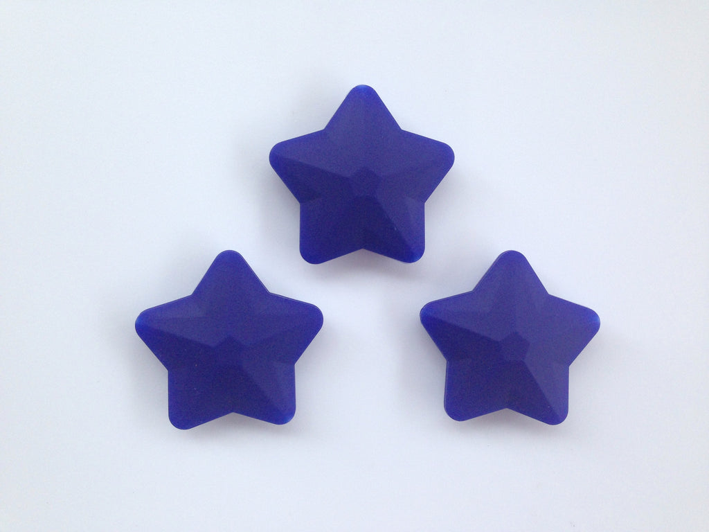 Navy Faceted Star Silicone Bead