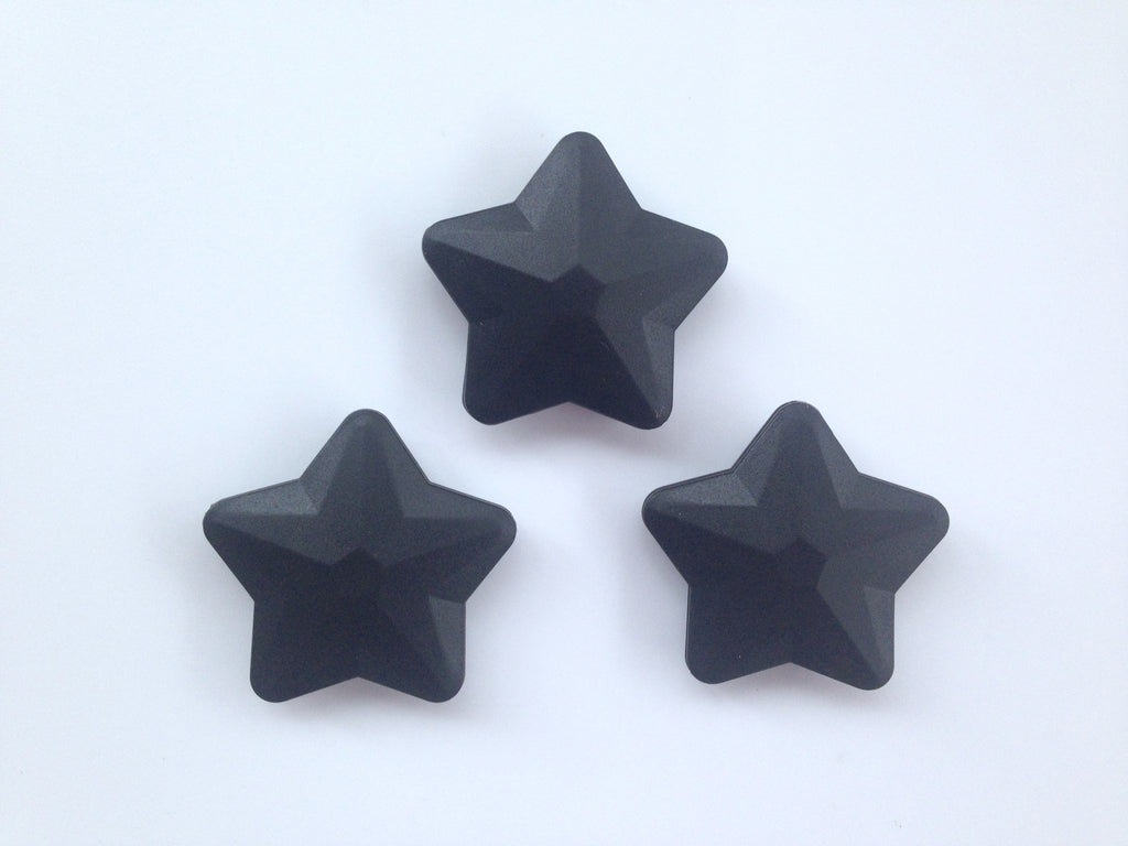 Black Faceted Star Silicone Bead