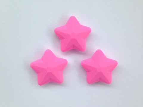 Pink Faceted Star Silicone Bead