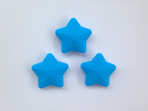 Sky Blue Faceted Star Silicone Bead