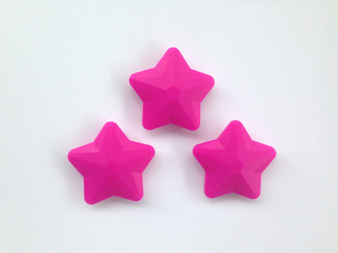Hot Pink Faceted Star Silicone Bead