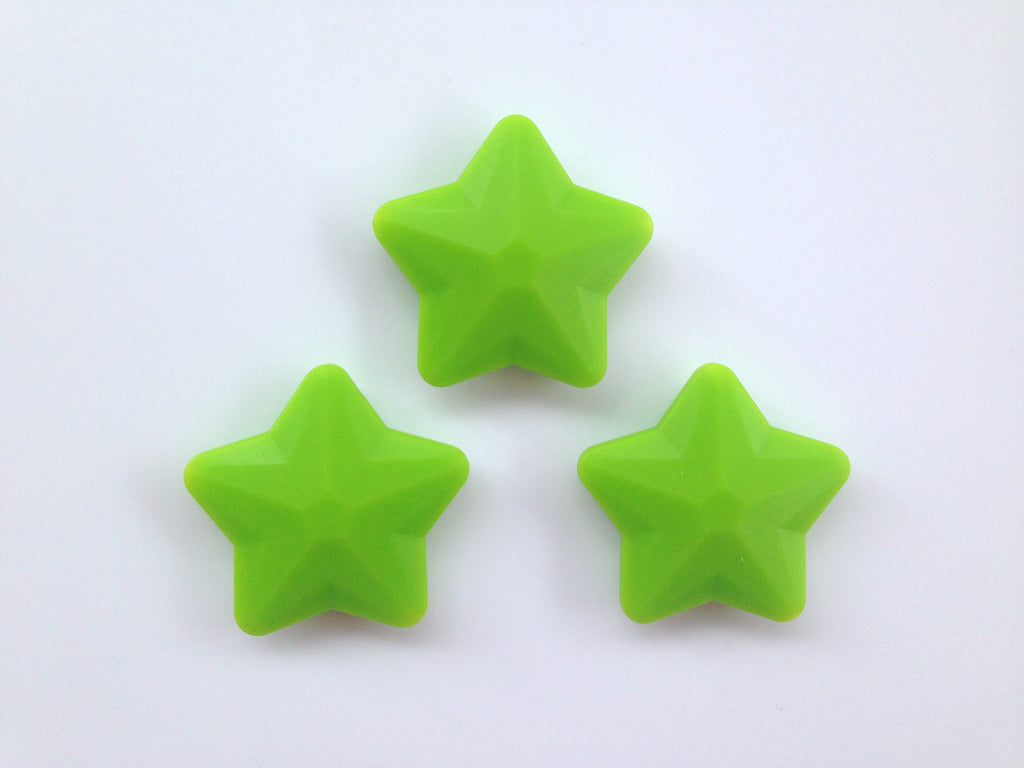 Green Faceted Star Silicone Bead