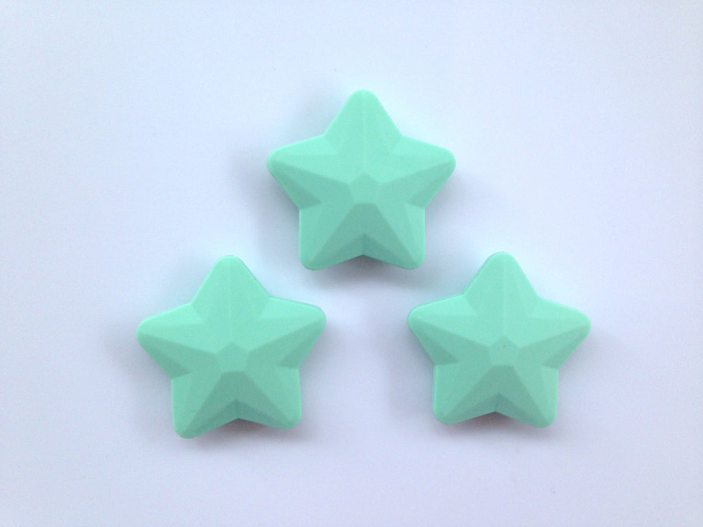 Mint Faceted Star Silicone Bead