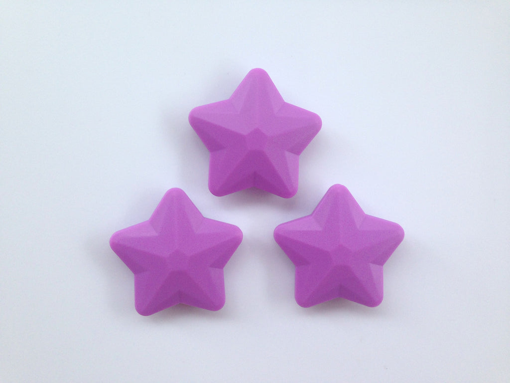 Lavender Purple Faceted Star Silicone Bead